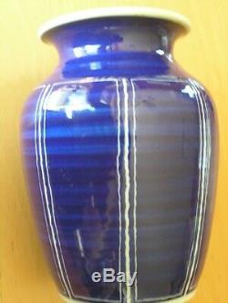 Vintage Antique Blue & White Studio Pottery Vase Signed 3 Lines Crossed Japanese