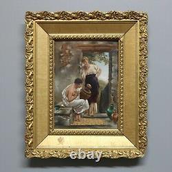 Vintage Antique Victorian Gilt Framed Genre Oil Painting Outdoor Pottery Studio