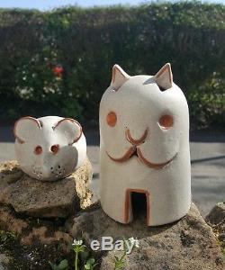 Vintage Art studio Pottery figures alfaraz Spain Ceramic Cat and mouse ornaments