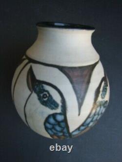 Vintage Australian Studio Pottery Vase with Hand Painted Kookaburras Signed