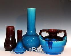 Vintage Awaji Art Studio Japanese Pottery Deco Hand Thrown Cobalt Drip Vase