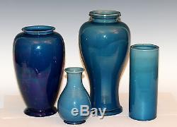 Vintage Awaji Art Studio Japanese Pottery Deco Vase Hand Thrown Flambe Glaze