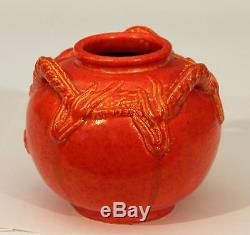 Vintage Awaji Studio Japanese Pottery Dragon Jar Chrome Red Atomic Orange Vase