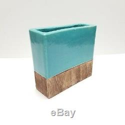 Vintage Barbara Willis Vase California Studio Pottery Turquoise Blue Mid Century