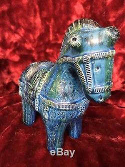 Vintage Bitossi Aldo Londi Rimini Blue Large Horse 10 Italian Studio Pottery