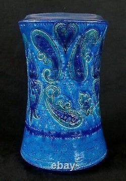 Vintage Bitossi for Rosenthal Netter ceramic studio pottery blue vase 8.5 Italy