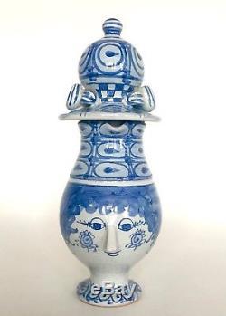 Vintage Bjorn Wiinblad'Face' Lidded Pitcher. Denmark Studio Pottery 1972