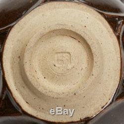 Vintage Brown Glazed Wheel Moulded Studio Pottery Bowl
