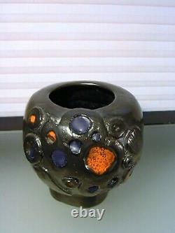 Vintage Brutalist Modernist Studio Art Pottery Vase Mid Century Signed