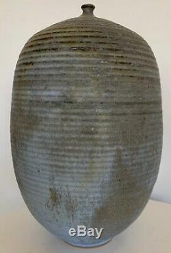 Vintage Bulbous Stoneware Vase Vessel Mid Century Modern Studio Pottery Deyoe