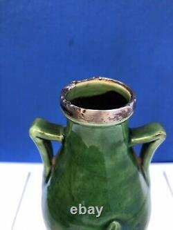 Vintage CH Brannam Barnstaple Pottery Green Two Handled Vase Silver Hall Mark