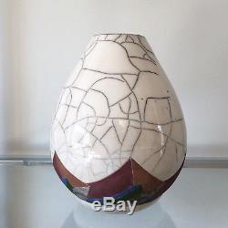 Vintage Canadian Studio Art Pottery Peter Powning Large Raku Vase