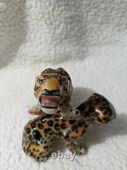 Vintage Ceramic Arts Studio Fighting Leopards Figurines Pair