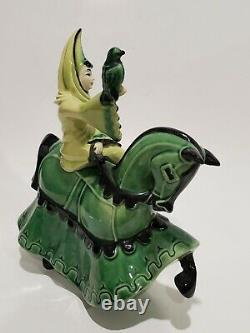 Vintage Ceramic Arts Studio Lady Rowena On Charger Figurine In Green