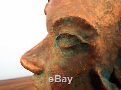 Vintage Ceramic Clay Pottery Female Head Sculpture Bust Statue Studio Yard Art