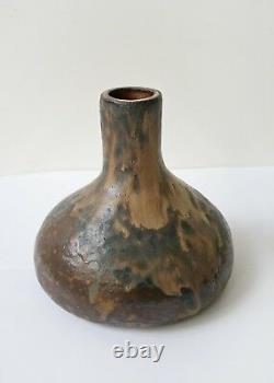 Vintage Chocolate Brown Beige Melting Fat Lava Large Ceramic Weedpot Studio Art