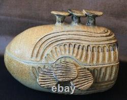Vintage Clyde Gobble North Carolina Art Studio Pottery Large Chicken Roaster