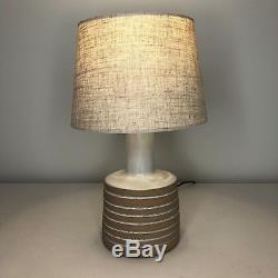Vintage Complete Jane & Gordon Martz Marshall Studios Incised Ceramic Table Lamp