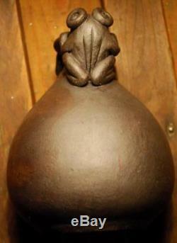 Vintage DOUBLE FROG JAR VASE Handmade Ceramic Studio Art Pottery Signed KTC