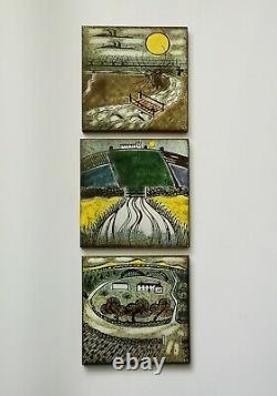 Vintage Decorative Sgraffito Wall Plaque Tile Christina Sheppard