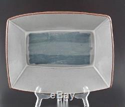 Vintage Denis Vibert Pine Tree Kiln Maine Art Studio Pottery Fish Tray Dish