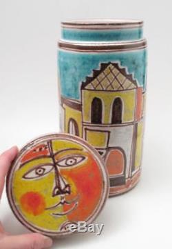 Vintage Desimone Italian Studio Pottery Lidded Jar Canister Hand Painted Signed