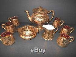 Vintage Dixon Art Studio Tea Set 22 K Weeping Gold Made In U. S. A