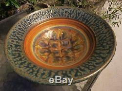 Vintage Drip Glaze Signed Studio Pottery Bowl Mid Century Modern