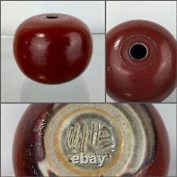 Vintage Edouard Chapallaz DUILLIER Studio Art Pottery Vase Stoneware Signed Red