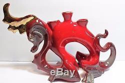Vintage FRANK ENGLE Studio Ceramic Red DRAGON Candleholder Mid Century Moderne