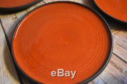 Vintage Fat Lava Danish Studio Pottery Orange Tea Pot 8 Mugs & Plates Denmark KK