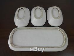 Vintage French Studio Pottery Guillot France 3 bowls, tray green white modernist