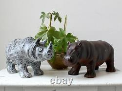Vintage French Studio Pottery Hippo Sculpture