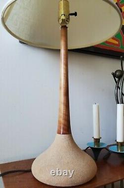 Vintage George Scatchard Studio MCM Style Lamp Pottery Wood Tulip Base Signed