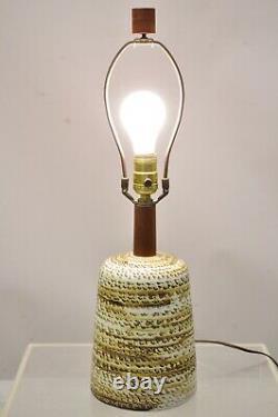 Vintage Gordon Martz for Marshall Studios Small Ceramic Pottery Teak Table Lamp