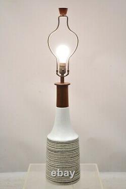 Vintage Gordon Martz for Marshall Studios Tall Ceramic Pottery Teak Table Lamp