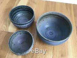 Vintage Hand Made Studio Pottery Bowl Set graduating sizes Purple Lavender Blue