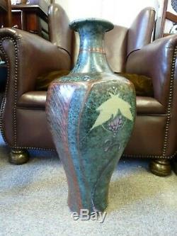 Vintage Handmade Thrown Stoneware David Frith HUGE Vase Studio pottery CPA Welsh