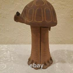 Vintage Harting Signed Studio Pottery turtle bank Stoneware MCM