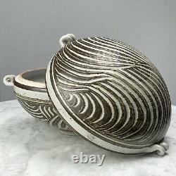 Vintage Incised Studio Art Lidded Serving Bowl (Signed)