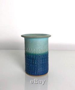 Vintage JT Abernathy Studio Pottery Stoneware Vase Signed Mid Century Modern