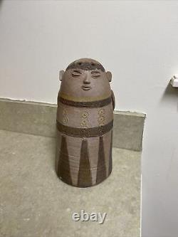 Vintage Jane Wherette Signed Northwest Studio Art Pottery Monk Flower Frog