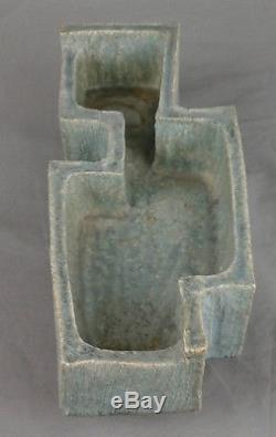 Vintage Japanese Ikebana Vase Art Studio Pottery MID Century Brutalist Signed