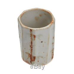 Vintage Japanese Octagonal Studio Pottery Vase 20th C