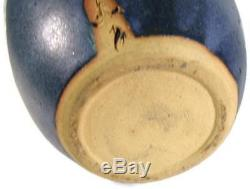 Vintage Japanese Studio Art Pottery Tall Blue Ikebana Vase Artist Signed