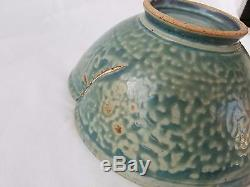 Vintage Japanese Studio Pottery Lotus Flower Bowl in Turquoise
