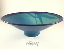 Vintage Japanese Style Studio Pottery Bowl Blue Glaze Mark Bisque Simon Pearce