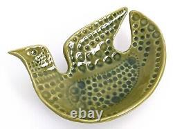 Vintage John Ffrench JFF Bird Green Dish Bowl Arklow Studio Pottery Ireland