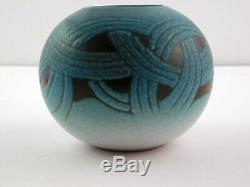 Vintage Jordi Serra Moragas Small Blue Black Vase Spanish Studio Art Pottery