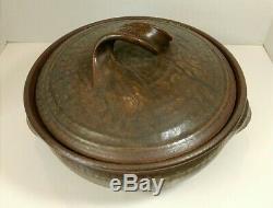 Vintage Karen Karnes Studio Pottery Large Lidded Casserole Wood Fired Stoneware